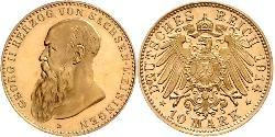 10 Mark Duchy of Saxe-Meiningen (1680 - 1918) Gold Georg II, Duke of Saxe-Meiningen