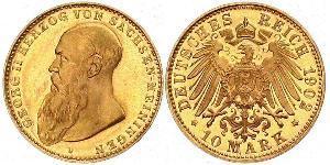 10 Mark Duchy of Saxe-Meiningen (1680 - 1918) Gold Georg II, Duke of Saxe-Meiningen
