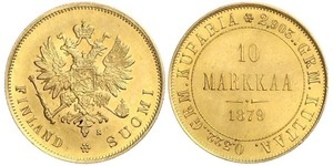 10 Mark Finland (1917 - ) / Russian Empire (1720-1917) Gold Alexander III (1845 -1894)