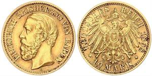 10 Mark Grand Duchy of Baden (1806-1918) Gold Frederick I, Grand Duke of Baden (1826 - 1907)