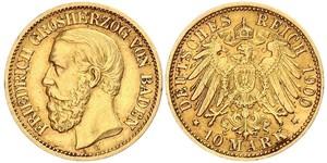 10 Mark Grand Duchy of Baden (1806-1918) Gold Frederick I, Grand Duke of Baden (1826 - 1907)
