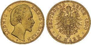 10 Mark Königreich Bayern (1806 - 1918) Gold Ludwig II. (Bayern)(1845 – 1886)