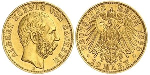 10 Mark Königreich Sachsen (1806 - 1918) Gold Albert (Sachsen)