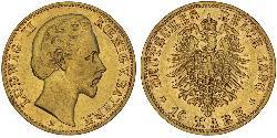 10 Mark Kingdom of Bavaria (1806 - 1918) Gold Ludwig II of Bavaria (1845 – 1886)