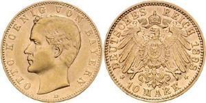 10 Mark Kingdom of Bavaria (1806 - 1918) Gold Otto of Bavaria (1848 – 1916)