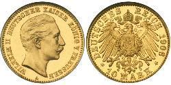 10 Mark Kingdom of Prussia (1701-1918) Gold Wilhelm II, German Emperor (1859-1941)