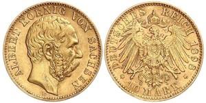 10 Mark Kingdom of Saxony (1806 - 1918) Gold Albert of Saxony