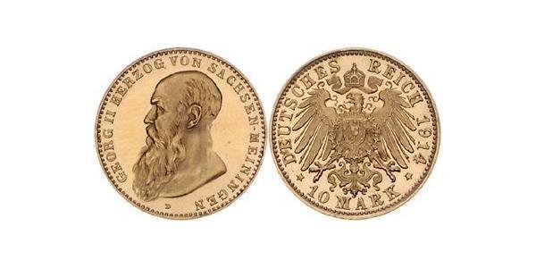 10 Mark Duché de Saxe-Meiningen (1680 - 1918) Or Georges II de Saxe-Meiningen-Hildburghausen