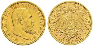 10 Mark Empire allemand (1871-1918) Or Wilhelm II, German Emperor (1859-1941)