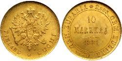 10 Mark Finlande (1917 - ) / Empire russe (1720-1917) Or Alexandre III (1845 -1894)