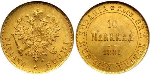 10 Mark Finlande (1917 - ) / Empire russe (1720-1917) Or Alexandre III (1845 -1894)
