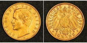 10 Mark Royaume de Bavière (1806 - 1918) Or Othon Ier de Bavière(1848 – 1916)