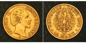 10 Mark Royaume de Bavière (1806 - 1918) Or Louis II de Bavière (1845-1886)(1845 – 1886)