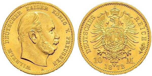 10 Mark Royaume de Prusse (1701-1918) Or Wilhelm I, German Emperor (1797-1888)