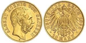 10 Mark Royaume de Saxe (1806 - 1918) Or Albert de Saxe