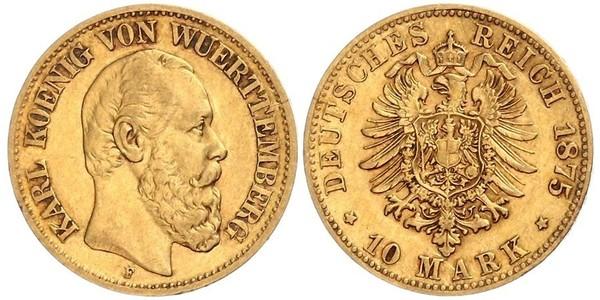 10 Mark Royaume de Wurtemberg (1806-1918) Or Charles Ier de Wurtemberg