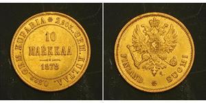 10 Mark Finlandia (1917 - ) / Imperio ruso (1720-1917) Oro Alejandro III (1845 -1894)