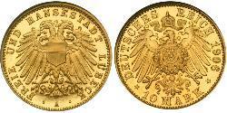 10 Mark Free City of Lübeck Oro