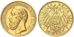 10 Mark Gran Ducado de Baden (1806-1918) Oro Federico I de Baden (1826 - 1907)
