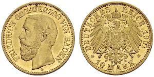 10 Mark Grand Duchy of Baden (1806-1918) Oro Federico I di Baden (1826 - 1907)