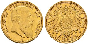 10 Mark Grand Duchy of Baden (1806-1918) Oro Federico I di Baden (1826 - 1907)