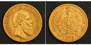10 Mark Regno di Württemberg (1806-1918) Oro Carlo di Württemberg