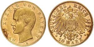 10 Mark Reino de Baviera (1806 - 1918) Oro Otón I de Baviera(1848 – 1916)
