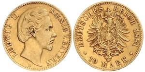 10 Mark Reino de Baviera (1806 - 1918) Oro Luis II de Baviera(1845 – 1886)
