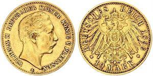 10 Mark Reino de Prusia (1701-1918) Oro Wilhelm II, German Emperor (1859-1941)