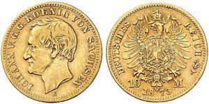 10 Mark Reino de Sajonia (1806 - 1918) Oro