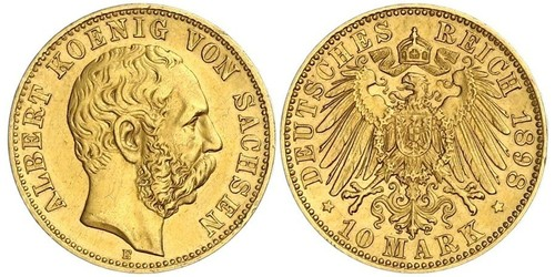 10 Mark Reino de Sajonia (1806 - 1918) Oro Alberto I de Sajonia