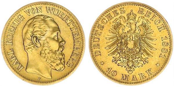 10 Mark Reino de Wurtemberg (1806-1918) Oro Carlos I de Wurtemberg