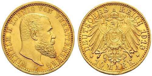 10 Mark Stati federali della Germania Oro Wilhelm II, German Emperor (1859-1941)