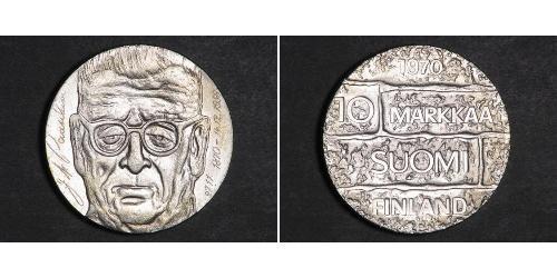 10 Mark Finlandia (1917 - ) Plata Juho Kusti Paasikivi