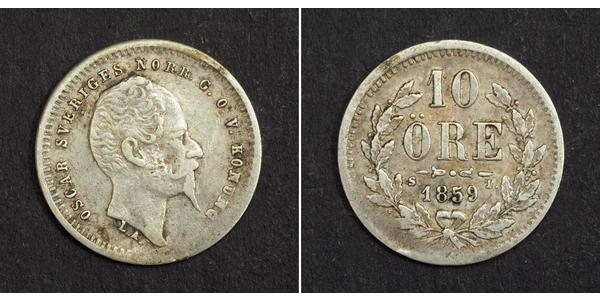 10 Ore Sweden Silver Oscar I of Sweden and Norway (1799-1859)