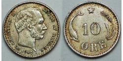 10 Ore Denmark  Christian IX of Denmark (1818-1906)