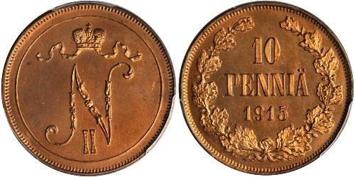 10 Penny 芬兰大公国 (1809 - 1917) 銅 尼古拉二世 (俄罗斯) (1868-1918)