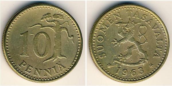 10 Penny Finlandia (1917 - ) Aluminio/Bronce
