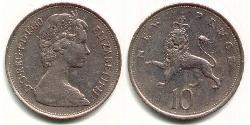 10 Penny United Kingdom (1922-) Copper/Nickel Elizabeth II (1926-)