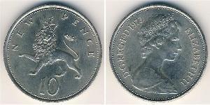 10 Penny United Kingdom (1922-) Copper/Nickel Elizabeth II (1926-)