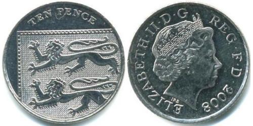 10 Penny Feriind Kiningrik (1922-) Cuivre/Nickel Elizabeth II (1926-)