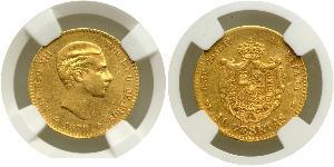 10 Peseta Kingdom of Spain (1874 - 1931) 金 Alfonso XII of Spain (1857 -1885)