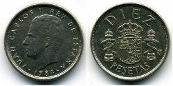 10 Peseta Kingdom of Spain (1976 - ) Copper/Nickel Juan Carlos I of Spain (1938 - )