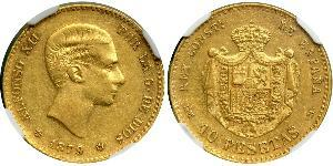 10 Peseta Kingdom of Spain (1874 - 1931) Gold Alfonso XII of Spain (1857 -1885)