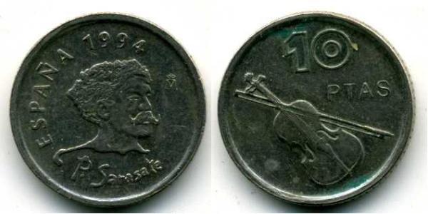 10 Peseta Reino de España (1976 - ) Kupfer/Nickel