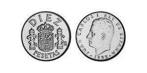10 Peseta Reino de España (1976 - ) Níquel/Cobre Juan Carlos I (1938 - )