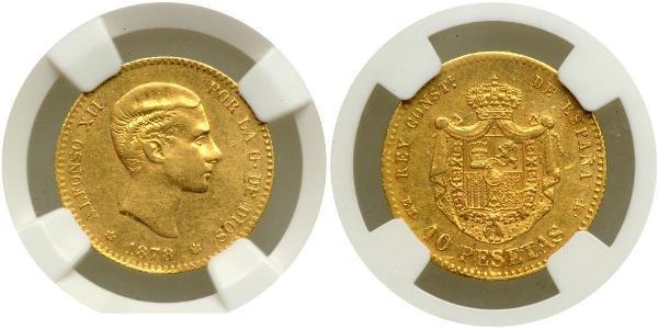 10 Peseta Kingdom of Spain (1874 - 1931) Or Alfonso XII of Spain (1857 -1885)