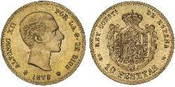 10 Peseta Kingdom of Spain (1874 - 1931) Oro Alfonso XII of Spain (1857 -1885)