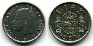 10 Peseta Regno di Spagna (1976 - ) Rame/Nichel Juan Carlos I (1938 - )