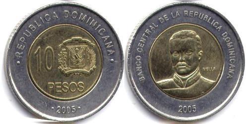 10 Peso Dominikanische Republik Bimetall